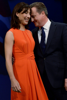 Prime Minister David Cameron with wife Samantha yesterday after his address on the final day of the Conservative Party Conference in Manchester