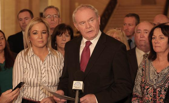 Deputy First Minister Martin McGuinness speaks to the media