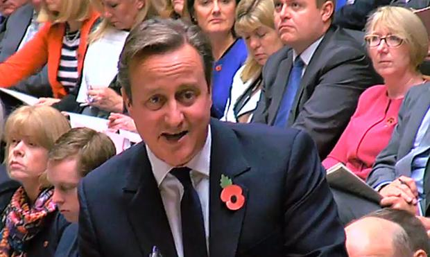 Prime Minister David Cameron during prime minister's question time in the House of Commons on October 28, 2015