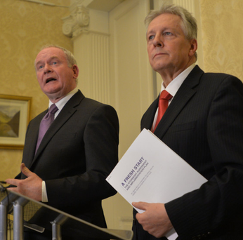 First Minister Peter Robinson and Deputy First Minister Martin McGuinness address the media