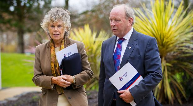 Kate Hoey arrives at the TUV party conference with Jim Allister