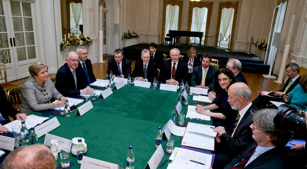 Martin McGuinness at the meeting to set up the new cross-border crime squad