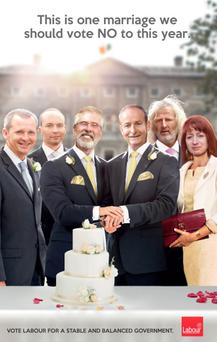 Sinn Fein has dismissed plans by the Labour Party in the Republic for election posters portraying Gerry Adams and Fianna Fail leader Micheal Martin as a gay couple getting married