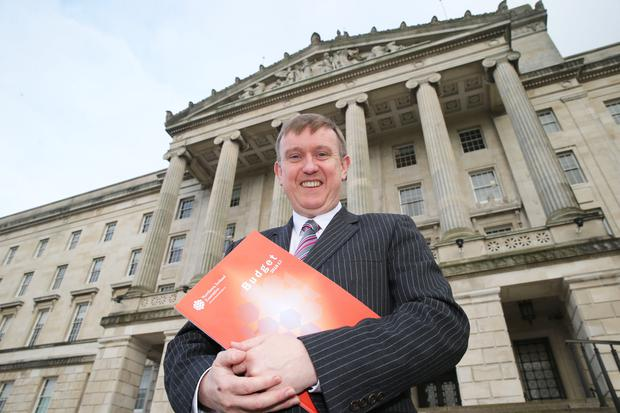 Finance Minister Mervyn Storey at Stormont yesterday