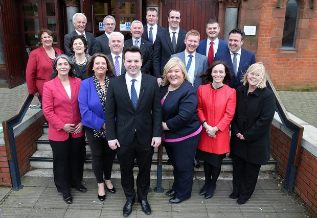 SDLP leader Colum Eastwood (front) with the party's top team