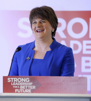 Party leader Arlene Foster speaks at the DUP spring conference in Limavady