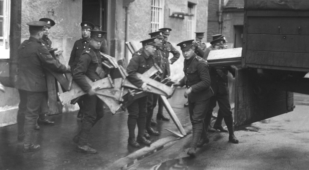 British troops load a vehicle during the Easter Rising in Dublin in 1916