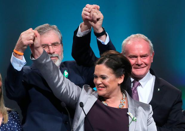 Sinn Fein President Gerry Adams, Vice-President Mary Lou McDonald and deputy First Minister of Northern Ireland Martin McGuinness at the Sinn Fein Ard Fheis in Dublin on Saturday