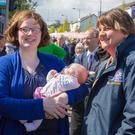 First Minister Arlene Foster meets voters at the May Day celebrations in Holywood yesterday