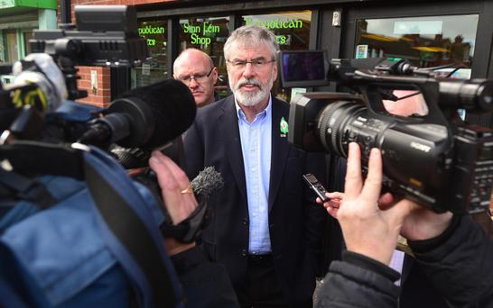 Under pressure: Sinn Fein President Gerry Adams