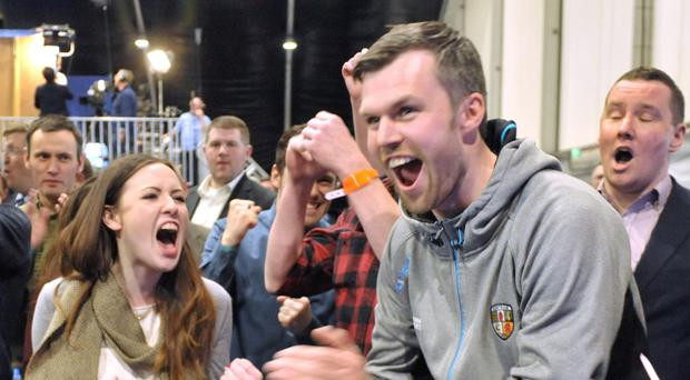 Gerry Carroll hears news he is the first candidate to have been elected in Sinn Fein stronghold of West Belfast