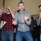 Gerry Carroll celebrates at the West Belfast count after being elected