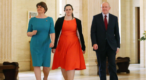 Claire Sugden flanked by First Minister Arlene Foster and Deputy First Minister Martin McGuinness