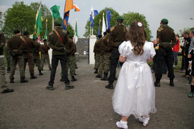 A child in a communion dress at the controversial parade in Lurgan