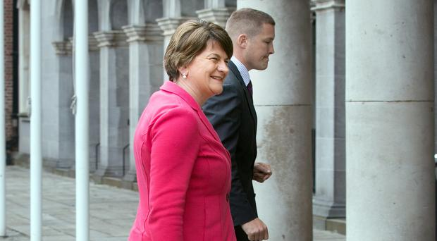 Northern Ireland First Minister Arlene Foster arrives for the North South Ministerial Council meeting at Dublin Castle yesterday