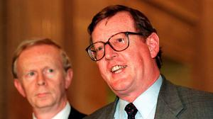 Leader: UUP's David Trimble (right) and Reg Empey in 1998