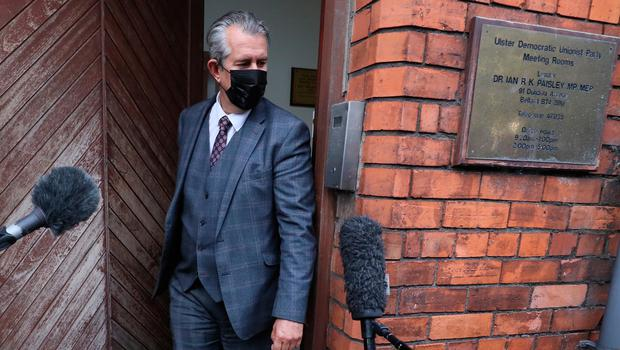 Edwin Poots leaves DUP headquarters after the meeting last night. Credit: Brian Lawless