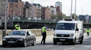 Vehicles stop at a Garda checkpoint in Dublin city centre (Brian Lawless/PA)