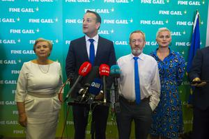 Leo Varadkar with European Parliament election candidates, Frances Fitzgerald, Sean Kelly and Maria Walsh at the conference (Patrick Browne/Fine Gael/PA)