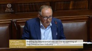 Screen grab from footage on Oireachtas TV of Director General of the CIF Tom Parlon, who said that infrastructure projects including the National Children's Hospital could see costs spiral even further.