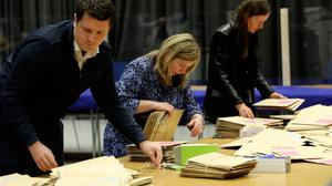 Staff begin to count votes at the count centre, at the Printworks, Dublin Castle.