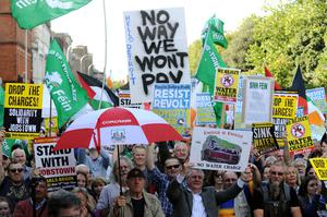 Protesters during anti-water charges march in Dublin (Caroline Quinn/PA)