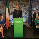 Fianna Fail leader Micheal Martin speaking during his party's manifesto launch (Donall Farmer/PA)
