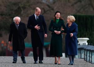 William and Kate walk with Michael D Higgins and his wife Sabina in Phoenix Park