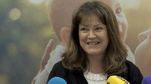 Caroline Simons addresses the media at a Love Both press conference (Aisling Ennis/PA)