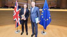 The UK's chief negotiator David Frost (left) and EU counterpart Michel Barnier have been meeting in London since negotiations restarted (European Commission/PA)