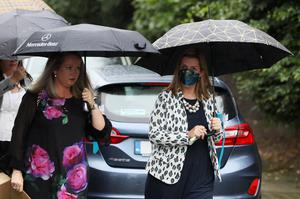 CervicalCheck campagingers Vicky Phelan (right) and Lorraine Walsh arrive for the funeral of fellow campaigner Ruth Morrissey at Mary Magdalene Church, Monaleen, Co Limerick (Brian Lawless/PA)
