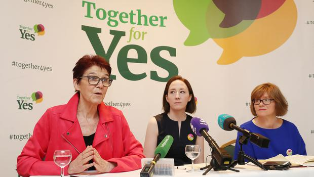 The three co-directors of Together For Yes (left to right) Ailbhe Smyth, Grainne Griffin and Orla O'Connor (Niall Carson/PA)