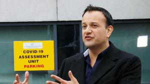Taoiseach Leo Varadkar speaking to media as he visited the Covid-19 Community Assessment Hub in DCU Collins Avenue (Handout/PA)