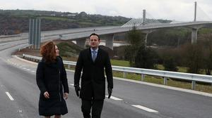 Taoiseach Leo Varadkar with Rose Katherine Kennedy Townsend, grand niece of the late president John F Kennedy, at the opening of Ireland's longest bridge, in New Ross, Co Wexford (Brian Lawless/PA)