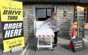 The special gangway is used to send food down to the vehicle window (Brian Lawless/PA)