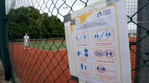 Players on court at Shankill Tennis Club, Dublin, as phase one of Ireland's five phase exit plan was triggered on Monday.