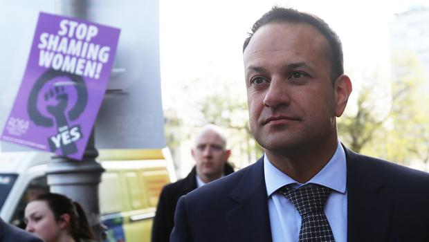 Leo Varadkar during a commuter canvass in Dublin by Fine Gael members supporting repeal of the 8th Amendment (Brian Lawless/PA)