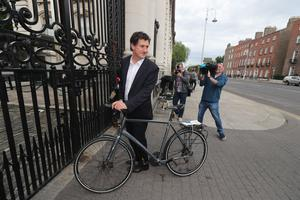 Green Party leader Eamon Ryan at Government Buildings in Dublin (Niall Carson/PA)