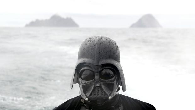 The Force is strong with this one - a Star Wars fan dressed as Darth Vader on a boat to the Skellig Islands, Co Kerry (Brian Lawless/PA)