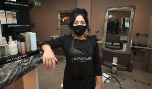 Laura Grufferty in her salon, the House of LA, in Athy, Co Kildare (Niall Carson/PA)