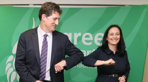 Eamon Ryan who has been re-elected as leader of Ireland's Green Party at the Brooks Hotel in Dublin with deputy leader Catherine Martin.