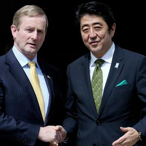 Taoiseach Enda Kenny with The Prime Minister of Japan Shinzo Abe at Government Buildings in Dublin.