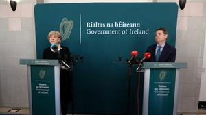Minister for Business Heather Humphreys and Finance Minister Paschal Donohoe (Brian Lawless/PA)