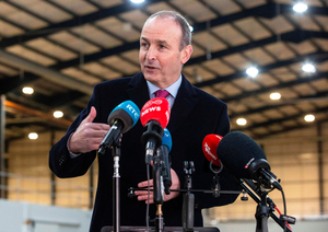 Optimistic: Taoiseach Micheal Martin speaking to media during a visit to Dublin Port yesterday