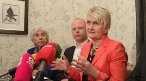(left – right) Independent TD's Maureen O'Sullivan and Stephen Donnelly and Independent MEP Marian Harkin speaking at a press conference to demand a postponement of the Fiscal Treaty at Buswells Hotel in Dublin today.