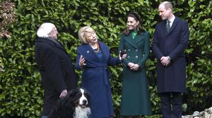 The Duke and Duchess of Cambridge with the President of Ireland, Michael D Higgins and his wife Sabina Coyne at Aras an Uachtarain, Dublin (Colin Keegan/PA)