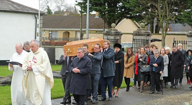The funeral of Marian Finucane takes place at St Brigid's Church in Kill, County Kildare (Niall Carson/PA)