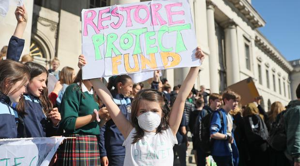 Sadhbh O'Connell , 10, from Scoil Mhuire School at a protest in Dublin (Brian Lawless/PA)
