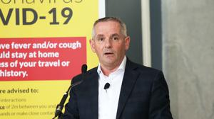Paul Reid,speaking at a media briefing on Covid-19 in the Pillar Room in the Mater Hospital, Dublin (leon Farrell/Photocall Ireland/PA)