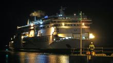 Irish Ferries' ship Ulysses arrives at Dublin Port from Holyhead in Wales as new post-Brexit trade rules come into operation (Niall Carson/PA)